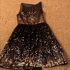 Girls party dress black gold